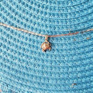 14kt gold crab link anklet size 9.5